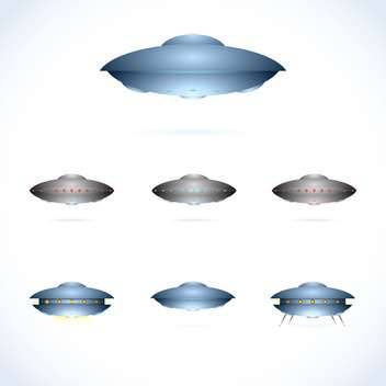Vector illustration of space collection with flying saucers on white background - Free vector #125724