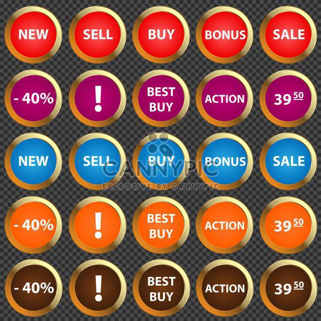 Vector illustration of colorful round icon set for sale - Free vector #125804