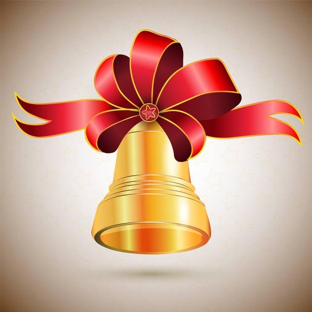 Vector illustration of golden bell with red bow - vector gratuit #125834