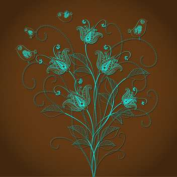 Vector floral background with beautiful blue flowers on brown background - vector #125844 gratis