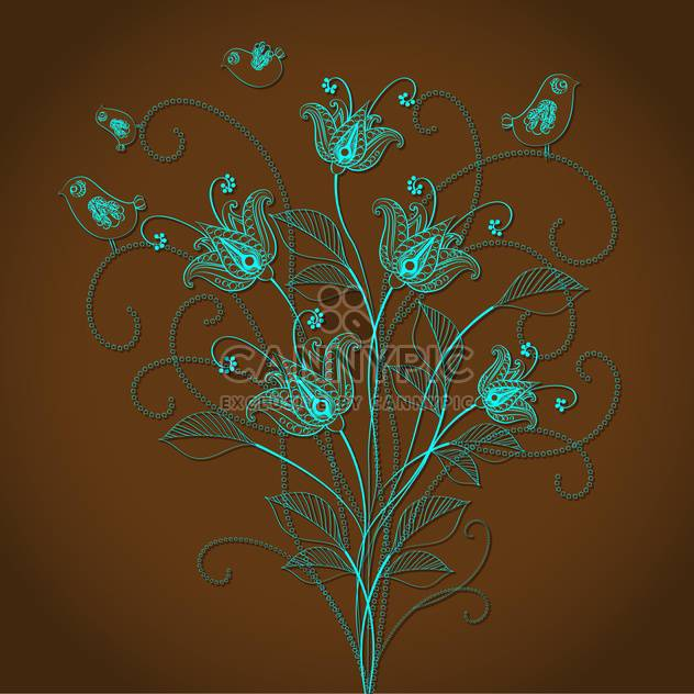Vector floral background with beautiful blue flowers on brown background - Free vector #125844