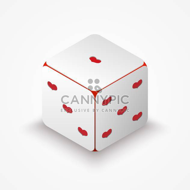 Vector illustration of dice with red hearts on white background - Free vector #125904