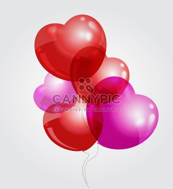 Vector illustration of red and pink heart shaped balloons on grey background - Free vector #126094