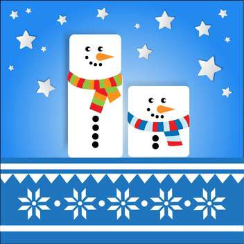 Vector holiday background with cute snowmen on blue background with stars - vector gratuit #126104