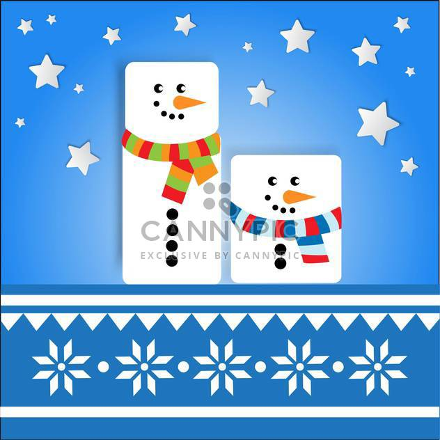 Vector holiday background with cute snowmen on blue background with stars - Free vector #126104