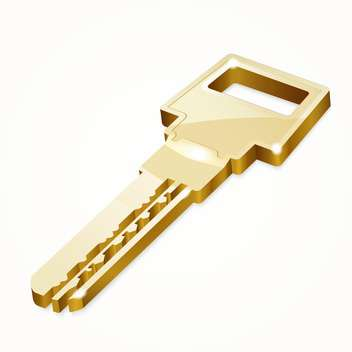 Vector illustration of golden security key on white background - бесплатный vector #126124