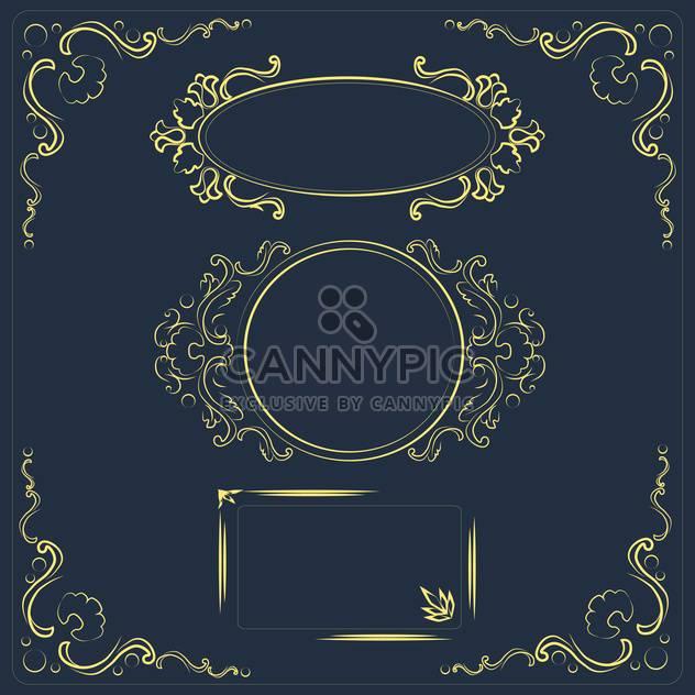 Vektor-Illustration set floral Design-Elemente auf dunklem Hintergrund - Kostenloses vector #126204