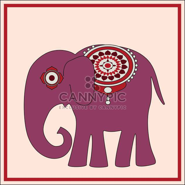 Vector background with exotic huge elephant with floral ornament on pink background - Free vector #126234