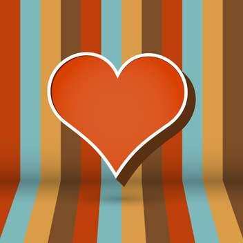 Vector striped background with brown heart - vector gratuit #126244