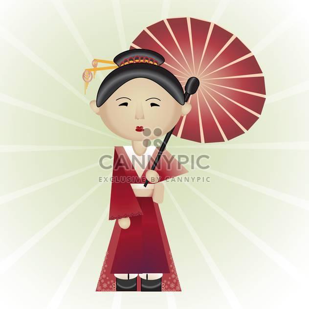 Vektor-Illustration schöne Geisha mit Sonnenschirm in der Hand auf weißem Hintergrund - Kostenloses vector #126254