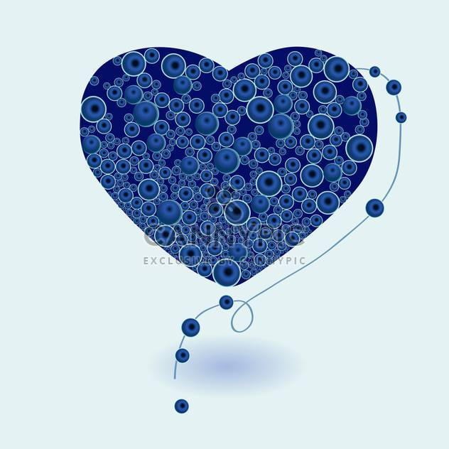 Vector illustration of blue heart made of round necklace on blue background - Free vector #126304