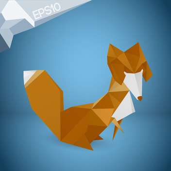 Vector illustration of origami paper fox on blue background - vector gratuit #126334