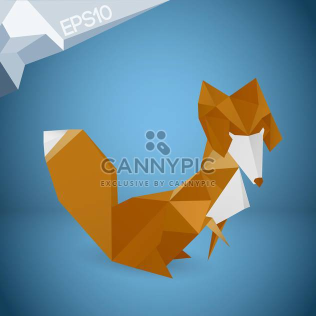 Vector illustration of origami paper fox on blue background - Free vector #126334