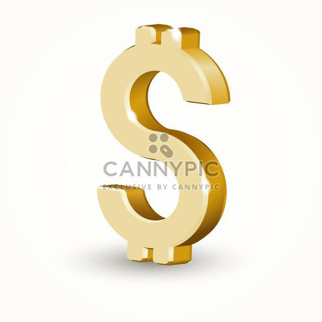 Vector golden color dollar sign on white background - Free vector #126364