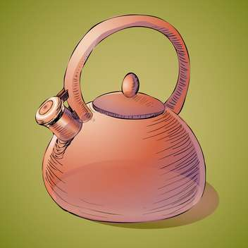 Vector illustration of classic brown kettle on green background - vector gratuit #126384