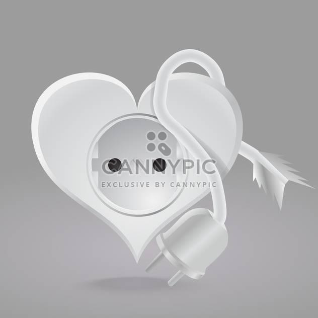 Vector illustration of heart shaped socket on grey background - Free vector #126424