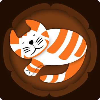Vector illustration of cute sleeping cat on brown background - vector gratuit(e) #126454