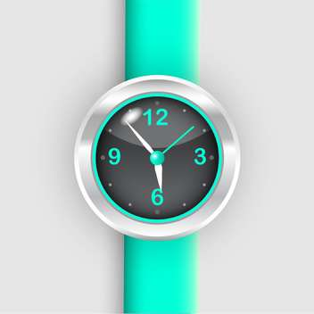 Vector illustration of wristwatch with green bracelet on white background - vector gratuit #126464