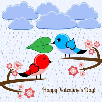 Vector illustration with birds on branch in love for valentine card - vector gratuit #126484