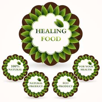 Vector green icons set for healing food on white background - Free vector #126544