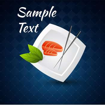 Vector blue background with sushi on plate and chopsticks - vector gratuit #126564