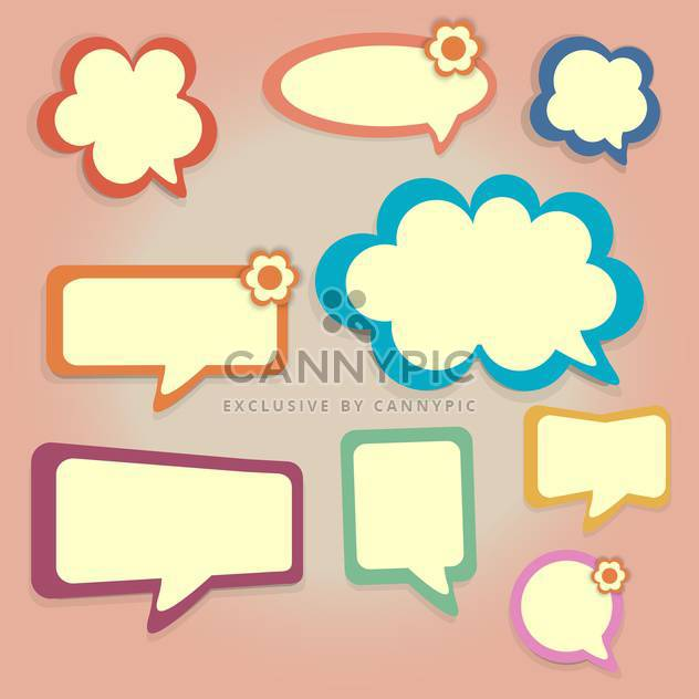 Vector set of colored speech bubbles on pink background - Free vector #126594