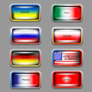Vector set of education icons with colorful flags - Free vector #126644
