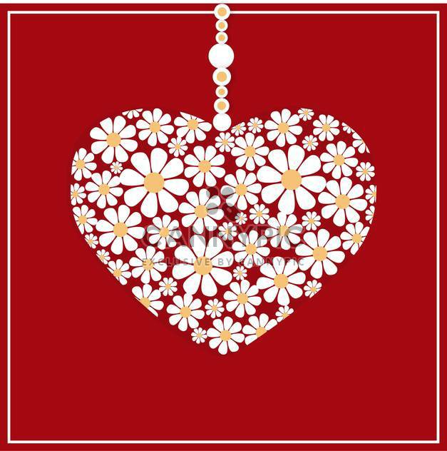 Vector greeting card with white floral heart on red background - Free vector #126654
