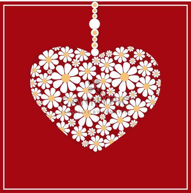 Vektor-Grußkarte mit weißen Blumen Herzen auf rotem Hintergrund - Kostenloses vector #126654