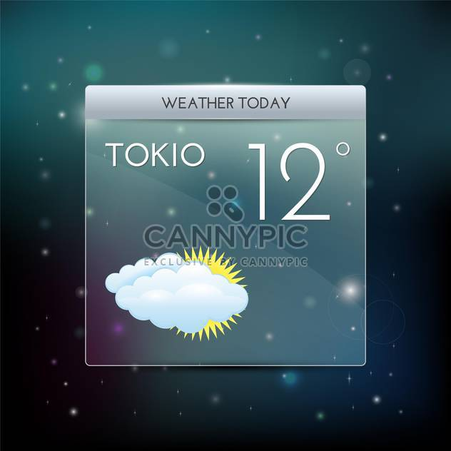 vector illustration of weather widget with cloud and sun - Free vector #126694