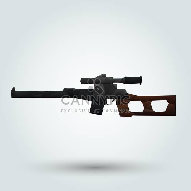 Abstract rifle with telescopic sight on white background - Free vector #126724