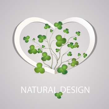 Heart with clover leaves on grey background - vector gratuit #126754