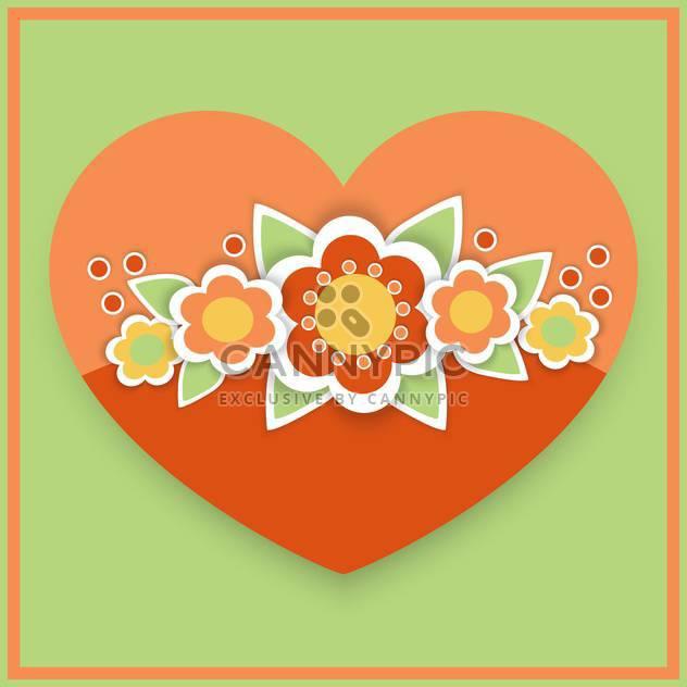 Vektor-Grußkarte mit floralen Herzen - Kostenloses vector #126784
