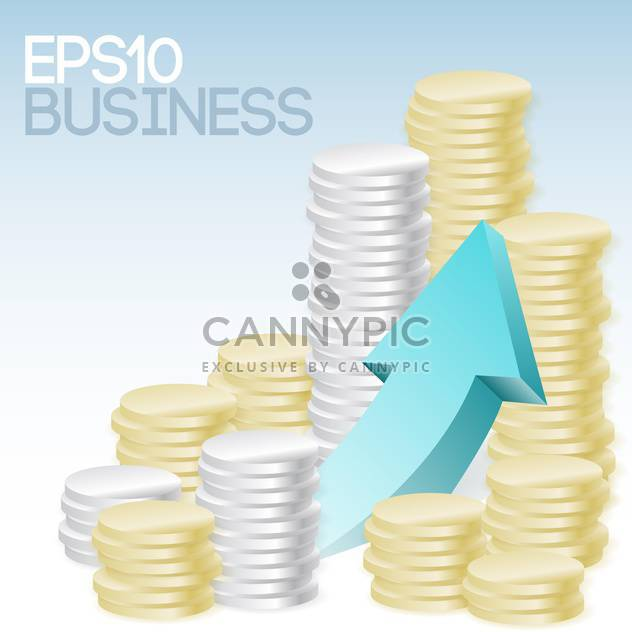Vector illustration of business concept with coins and arrow - Free vector #126884
