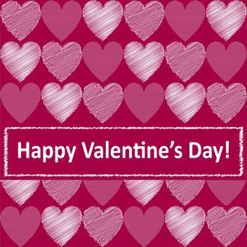 Vector pink background with cute hearts for valentine card - vector gratuit #126934