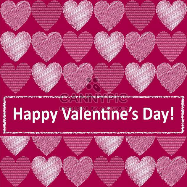 Vector pink background with cute hearts for valentine card - Free vector #126934