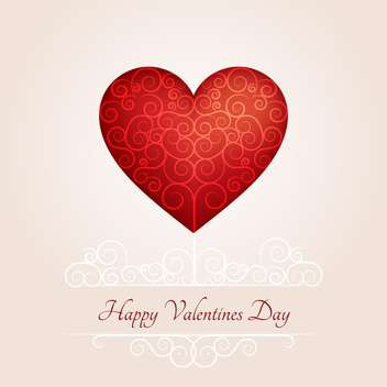 Valentine day greeting card with red heart and text place - vector #126974 gratis