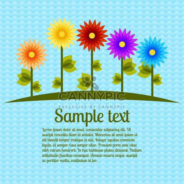 Vector blue background with colorful flowers - Free vector #127014