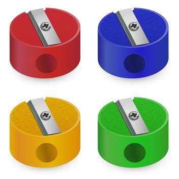 Set of plastic pencil sharpeners on white background - vector #127074 gratis