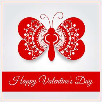 Vector greeting card with butterfly for Valentine's day - vector gratuit(e) #127084