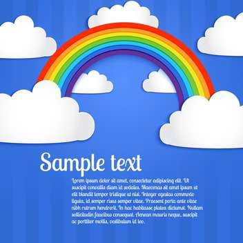 Vector background with colorful rainbow on blue sky with clouds - vector gratuit(e) #127104