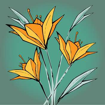 Vector floral background with yellow lilies flowers - vector gratuit(e) #127114