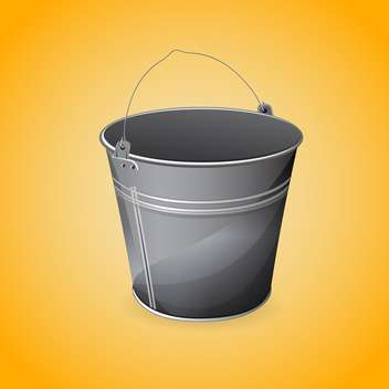 Vector illustration of gray bucket on orange background - vector gratuit #127144