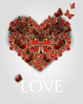 Vector illustration of heart with butterflies for valentine card - vector gratuit(e) #127154