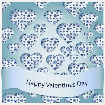 Vector beautiful valentine card with blue floral hearts - vector gratuit #127194