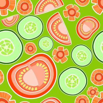 Vector colorful background with tomatoes and cucumbers - vector gratuit(e) #127204