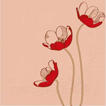 Vector red tulips on pink background - бесплатный vector #127274