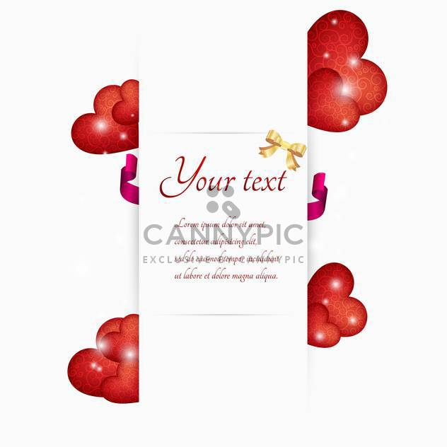 Vector illustration of red hearts with white banner and text place - Free vector #127334