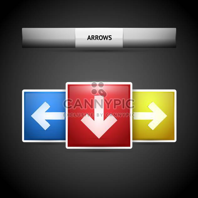 Vector arrow buttons on black background - Free vector #127384