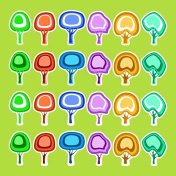 vector icon set of colorful trees on green background - Free vector #127444